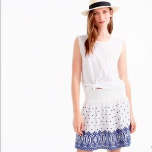 J. Crew White Skirt with Blue Embroidery